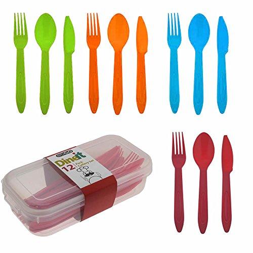 12 st Herbruikbare Plastic Bestek Set Vork Lepel Mes Camping Picknick Kids Reizen ORANJE