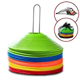 50 Training Disc Cones Sports Equipment - Carry Bag, Mesh Ball Bag And Metal Holder Included | Use For Sports Training, Soccer and Football Drills, Soccer Cones, Agility Training, and Field Markers