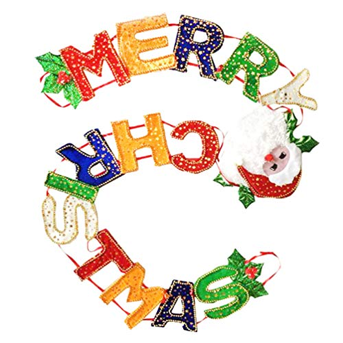 PRETYZOOM Christmas Banner Holiday Party Banner Xmas Letters Buntings Garland Hanging Decorations Photo Prop for Christmas Party Fireplace Mantle Decorations 1.7m