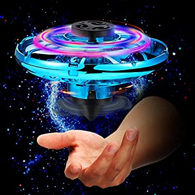 Charnoel Hand Operated Drone with LED Lights Indoor Outdoor Small Toy Flying Ball Drone Toys Mini LED Hands Drone for Boys and Girls over 6 Years Old (Blue)