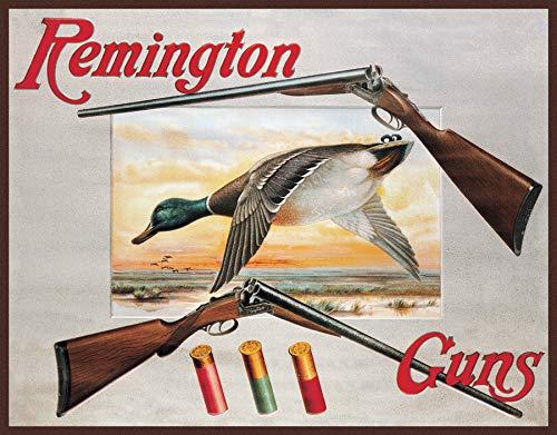 "Desperate Enterprises Remington 2 Shotguns & Duck Tin Sign, 16"" W x 12.5"" H"