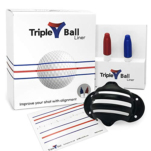 Triple Golf Ball Liner Alignment Tool, Golf Ball Marker Tool for a Better Alignment. 2 pens Included - Triple Golf Ball Liner Compatible with Golf putters