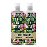 Faith In Nature Natural Wild Rose Shampoo and Conditioner Set, Restoring, Vegan & Cruelty Free,...