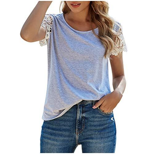 Camiseta de Manga Corta con Cuello Redondo Suelto de Color Sólido para Mujer Camiseta de Encaje Gris con Espalda Abierta