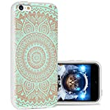 iPhone 5c Case Cool Cute,ChiChiC 360 Full Protective Anti Scratch Slim Flexible Soft TPU Gel Rubber Clear Cases Cover with Design for iPhone 5c,Turquoise Henna Mandala Floral Flower on Yellow
