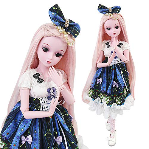 UCanaan BJD Dolls, 1/3 SD Doll 23.6 Inch 19 Ball Jointed Doll DIY Toys with Full Set Clothes Shoes Wig Makeup, Best Gift for Girls - Vivian