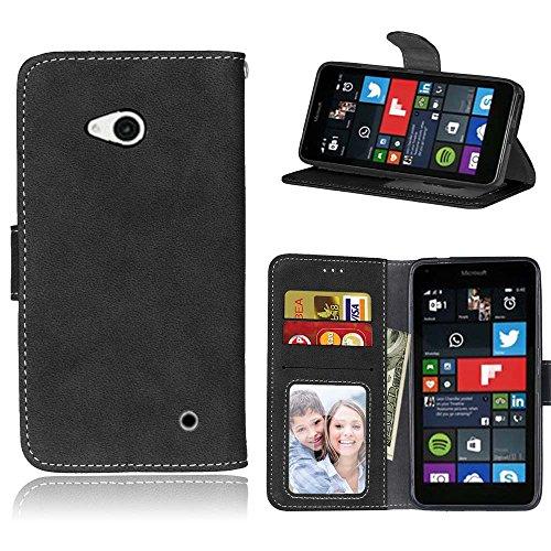 Microsoft Lumia 640 Hülle, SATURCASE Retro Mattiert PU Leder Flip Magnetverschluss Brieftasche Standfunktion Schützend Tasche Schutzhülle Handycover für Nokia/Microsoft Lumia 640 LTE (Schwarz)
