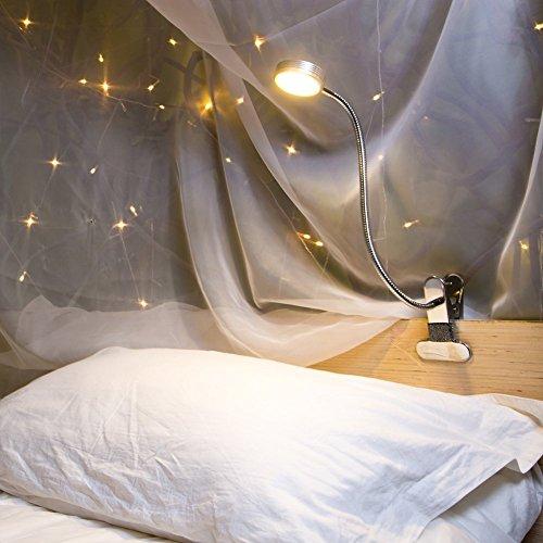 Eyocean Leselampe, LED Klemmlampe, 360° Flexibel Schwanenhals Lampe, 3 Farbmodi & 9 Helligkeitsstufen, Augenpflege Schreibtischlampe für Büro Heimgebrauch, CE Adapter Enthalten, 5W, Silber