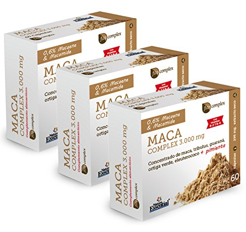 Nature Essential Maca complex 3000 mg con guaraná, tríbulus, ortiga verde, eleuterococo, pimienta negra, vitamina B-2 y B-6 - 60 cápsulas Pack 3 unididades