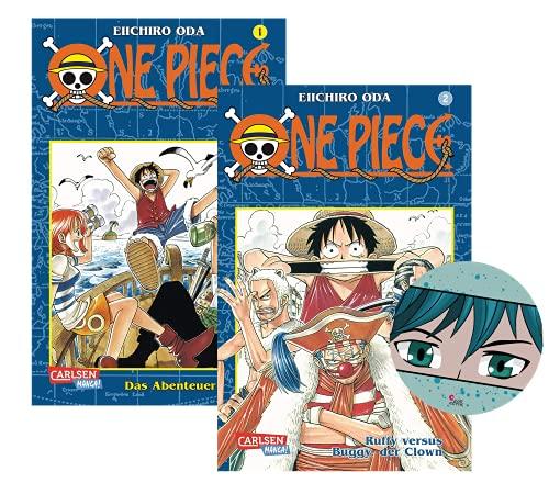 Juego de libros Manga: One Piece Band 1 (La aventura comienza) + Band 2 (Ruffy Versus Buggy, el payaso) con pegatinas | Serie Anime a partir de 10 años