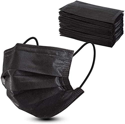 CALIYO Masken schwarz 50 Stk, Mund-Nasenschutz Masken 3-Lagig, Mundschutz Masken Alltagsmasken zum einmaligen und privaten Gebrauch