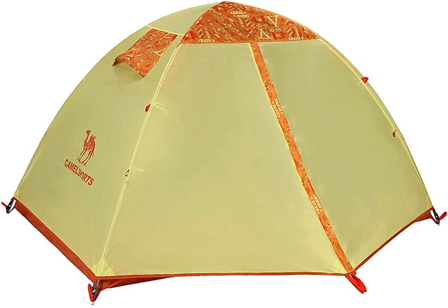 Camel Outdoor Camping Tent, 2 People, DoubleLayer Structure, Easy Manual Construction, Double Door, Rainproof Sunscreen, Suitable for Picnic Beach Park Lawn Field Fishing (color   red Green)