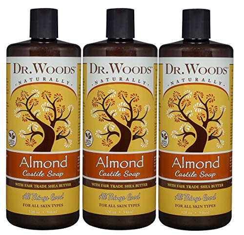 Dr. Woods Pure Almond Liquid Castile Soap with Organic Shea Butter, 32 Ounce (Pack of 3)