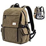 Zecti Camera Backpack, Waterproof Canvas DSLR Camera Bag for Laptop Hiking Travel Compatible for Sony Canon Nikon Camera and Lens Tripod Accessories with Rain Cover Fathers' Gift-Elegant Green