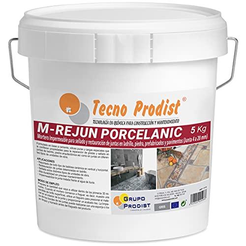 M-REJUN PORCELANIC de Tecno Prodist - (5 Kg, Gris) - Mortero para Lechada impermeable azulejos y suelos. Pavimentos cerámicos, ladrillos, piedra, etc. (Junta ancha de 4 a 20mm)