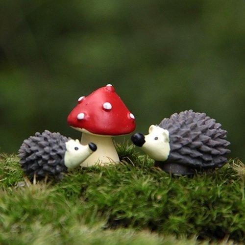 Gemini_mall Set of 3 Miniature Fairy Garden Hedgehog Mushroom Home Decoration Outdoor Decor