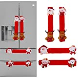 Arswin Refrigerator Handle Covers, 4 Pack Christmas Decorations for Kitchen Appliance Oven Microwave Dishwasher Cabinet Door Handle Protector Cover, Santa Snowmen Xmas Decor Ornaments (Red Flannel)