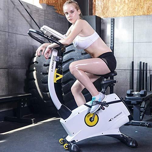 KANJJ-YU Ultra Mullido Asiento Plegable Bicicleta estática con MAX Peso, Monitor, Soporte de Dispositivo y Display Digital Fitness de Ejercicios para el hogar