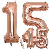 Globos Número 15 Cumpleaños XXL de oro rosa - Helio Globo de lámina gigante en 2 tamaños 40 y 16 | Set XXL 100cm + Mini 40cm version Decoraciones de cumpleaños |Ideal para el 15 Años como decoración