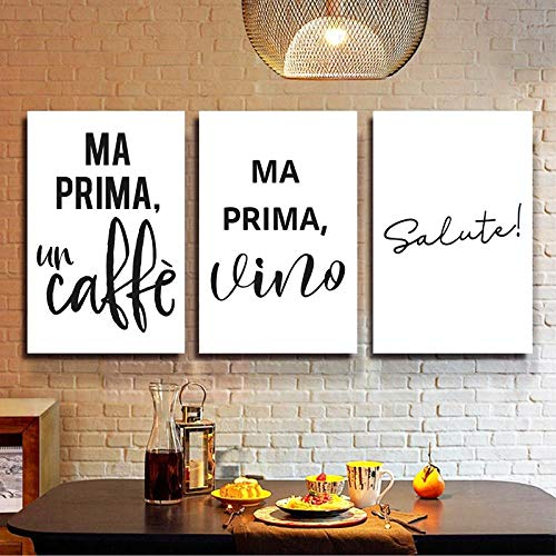 Coffee Wine Quotes Italian Typographic Posters and Prints Kitchen Decor Cheers Minimalist Bar Wall Art Canvas Painting Pictures 50x70cmx3 No Frame