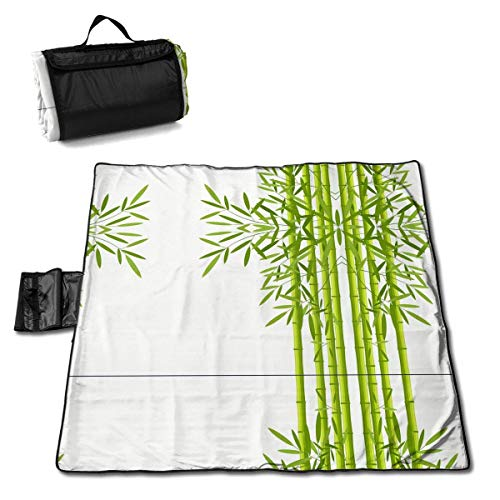 Feimao Large Estera de Picnic 57 * 59 In with Respaldo Impermeable For Picnic Cámping,Green Bamboo Stems with Leaves Vector Image