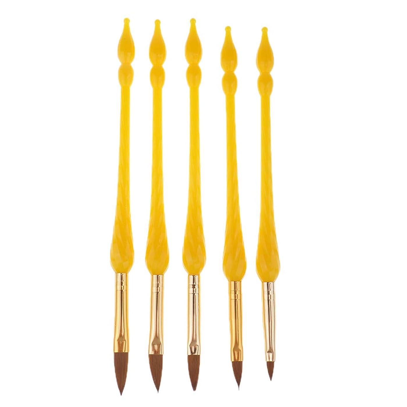すみません精度ドールperfk 5本 ネイルアートペン プロ ネイルアートブラシ 3色選べ - 黄