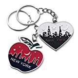 2x New York Big Apple Empire State Chrysler Building NYC Night Skyline with Big Apple Heart Shape Keychain NY Souvenir Gift Key Chain Ring - Set of 2