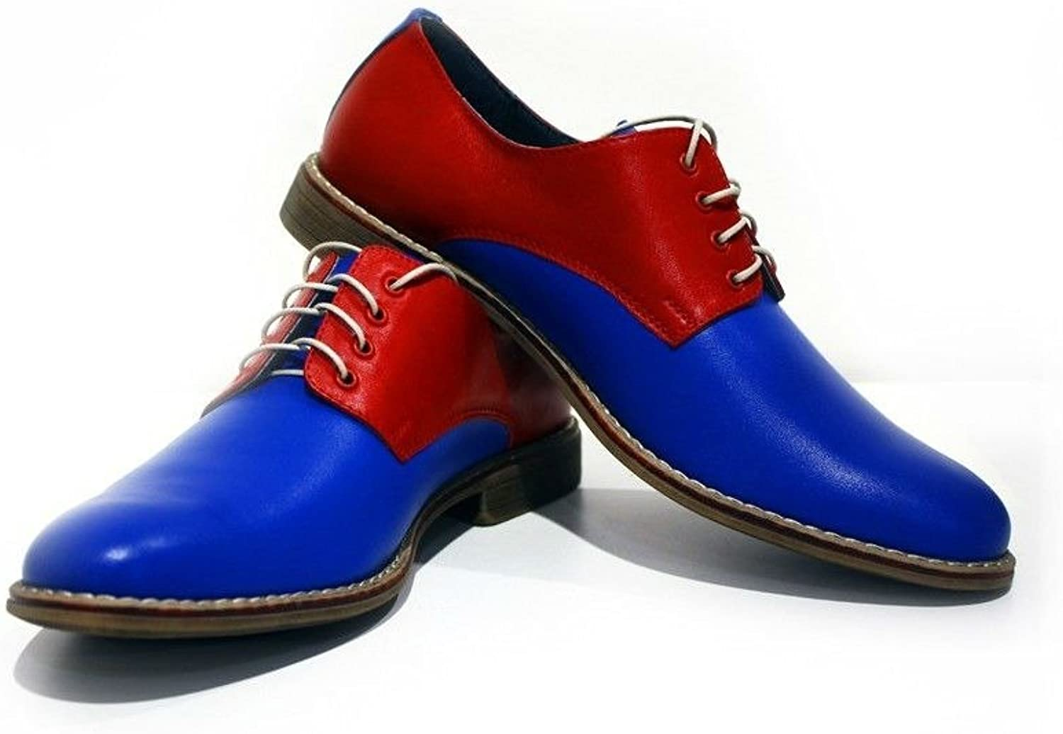 Modello Ascoli - Handmade Italian Leather Mens color bluee Oxfords Dress shoes - Cowhide Smooth Leather - Lace-Up