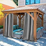 UniEco - Outdoor Curtains for Gazebo with Adhesive Tape, Mildew Resistan Pergola Curtains, Perfect for Garden Patio Balloon of Pavilion Beach House, 1 Piece, 132x215cm, Grey
