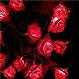 2 M Décoration Mariage Rose Fleur LED Bouquet Guirlande Lumineuse Batterie Rosa Festival Noël Fête Jardin Chambre Lumiere-Rouge