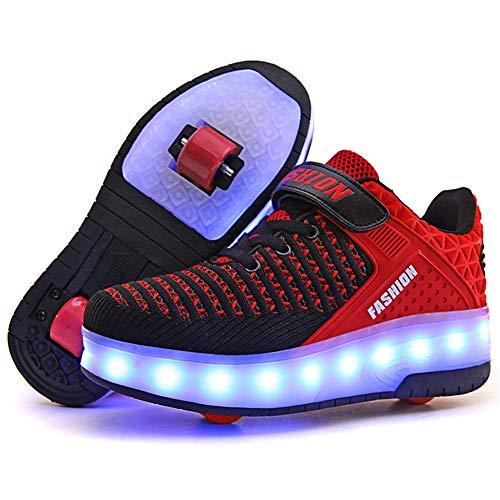 Sily Life Chaussures LED Fille Garçon,USB Rechargeable Lumières,Clignotant 7 Couleur Changeant, Multisports Outdoor à roulettes/Chaussures de Sport à roulettes à Double Usage