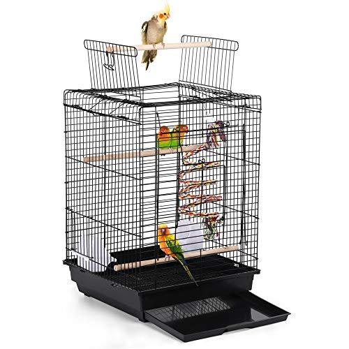 Yaheetech Gabbia per Uccelli Pappagalli Calopsite Inseparabili Parrochetti in Metallo con Tetto Apribile Giocattolo Nera