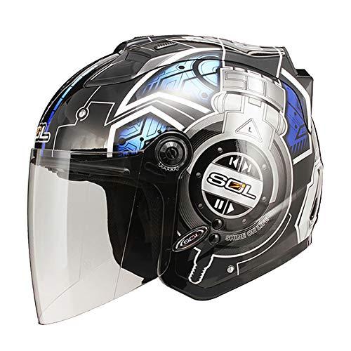Auriculares DJ Cascos Moto Half-Helmet con Luz de Advertencia LED,...