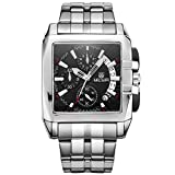 Megir calendario acciaio inox nero quarzo orologi Chornograph luminoso quadrato analogico orologio...