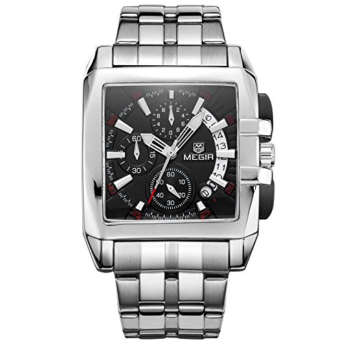 Megir, Herren-Chronograf / Armbanduhr, Edelstahl, schwarzes quadratisches Zifferblatt, Quarz-Uhrwerk, analog
