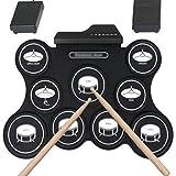 Portátil Tambor Electrónica Grupo de percusión electrónica, rueda for arriba el tambor Práctica de juegos de batería Pad con Toma de auriculares Altavoz incorporado baquetas de tambor Pedales Baterías