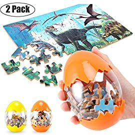 Dinosaur Puzzle, Wooden Puzzles 60 Pieces Puzzles for Kids 3 Years+ Dino Toys 2 Pack Boys Girls Gift 1 ❤SUPER HUGE SIZE DINOSAUR EGG TOY:8.7'' * 5.2 '' , kids need two hands to hold it, combining dinosaur egg with dinosaur puzzle, all kids love it! ❤THE BEST GIFT: Dinosaur Puzzle is suitable for children of 4-5-6-7-8-9-10-11-12 years old as a gift, Christmas, Easter, birthday, game party. ❤EDUCATIONAL DETAILS: This children's dinosaur puzzle allows kids to explore our prehistoric time period, learning about the environment in which the dinosaurs from millions of years ago lived.