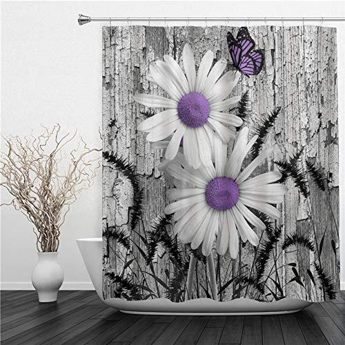 SUHETI Duschvorhang 180x180cm,Lila Grau Weiß Gänseblümchen Blumen Schmetterling Schwarz Fuchsschwanz Gras,Duschvorhang Wasserabweisend-Duschvorhangringen 12 Shower Curtain mit