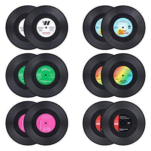 12 Stück Retro Vinyl CD Schallplatten Untersetzer Getränkeuntersetzer Tassenmatte Platzsets rutschfest isoliert Kaffee Getränk Matte