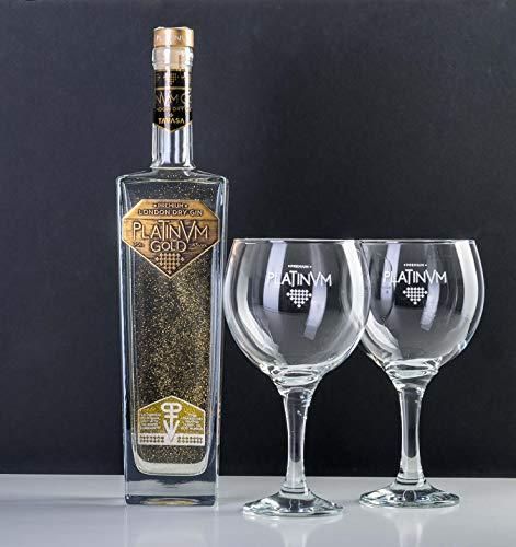 Pack London Dry Gin Platinvm Gold con Oro y dos elegantes copas para degustarla - ideal regalo día del padre, San Valentín, Navidad, cumpleaños, aniversario, corporativo