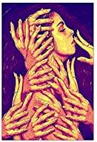 KYASDP 女性のボディーアートぶら下げ画像ポスターキャンバスプリント絵画壁アートリビングルーム家の装飾-50X70Cmフレームなし