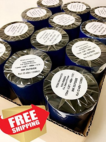 """AVG Packaging Supplies 24-Rolls of Brand Name Compatible Thermal Transfer Printer Ribbon 4.33"""" x 1476'/110mm x 450m Black Standard Resin-Enhanced Wax Ribbons. Free and Same Day Shipping."""