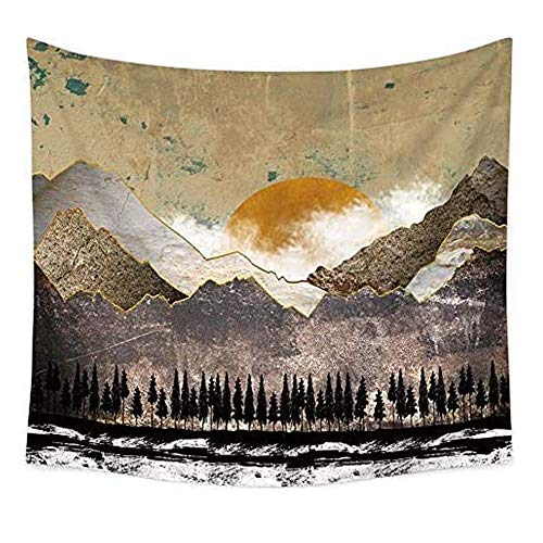 GZGZADMC Sunset Wall Tapestry, Psychedelic Mountain Forest Tapestry, Mountain Wall Hanging Psychedelic Nature Landscape Tapestry Home Decoration for Bedroom Living Room Hotel Apartment (59 x 51 Inch)