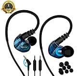 Running Sport Earphones Over Ear Buds with Microphone Remote Noise Cancelling Earhook Headphones Sweatproof in Ear Earphones for Gym Jogging Workout Exercise (Blue)