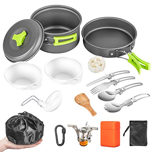 AIRE 16 Pcs Camping Cookware Set Stove Canister Stand Tripod Outdoor Hiking Picnic Non-Stick Cooking Backpacking with Folding Knife and Fork Set Mess Kit