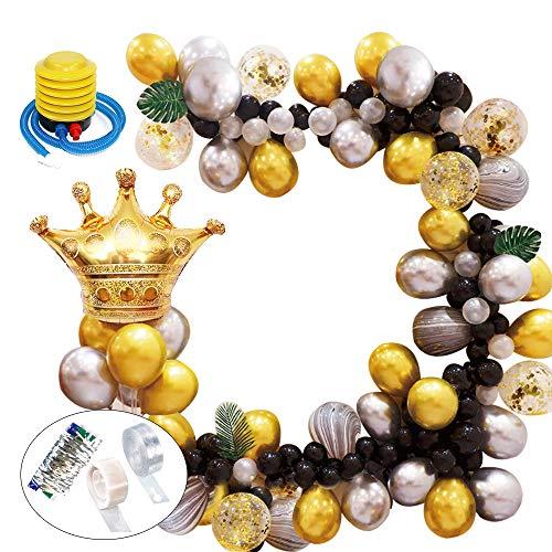 Decoraciones Cumpleaños, Globos de Cumpleaños Adultos,  Guirnalda de Arco de Látex Globos Confeti Negro y dorado lleno Paquete de Globos para Decoración de Boda Cumpleaños Fiesta (73Piezas)