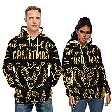 RENJIA IHGWE - Jersey de punto para hombre y mujer, con cuello redondo, diseño navideño Negro L