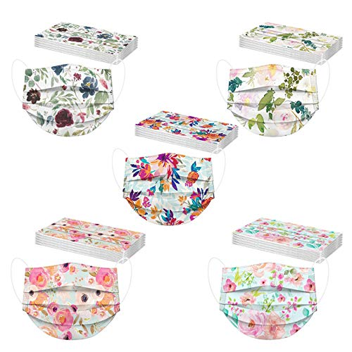 50PCs Floral Disposable Face Macks for Women, 3 Ply Face Bandanas with Colorful Rose Design (E)