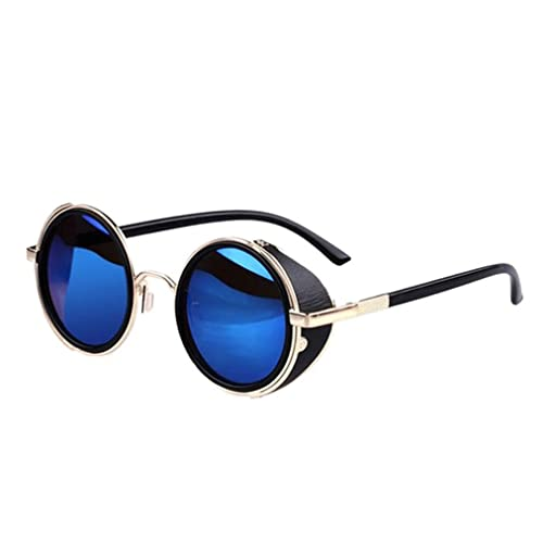 Bluester Mirror Lens Round Glasses Cyber Cosplay Goggles Steampunk Vintage Retro UV400 Protection Sunglasses