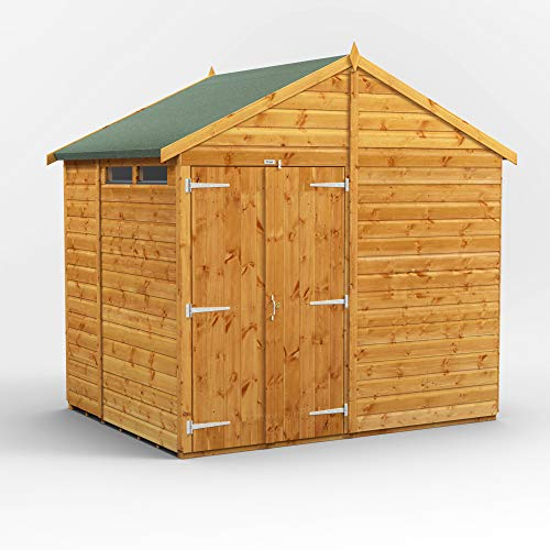 POWER Sheds wooden shed. 6x8 apex wooden garden shed. Double door security shed 6 x 8.
